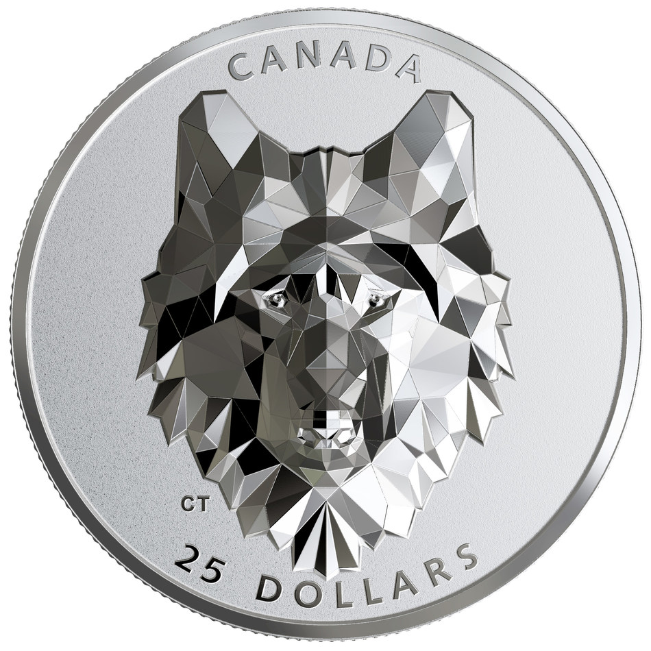 The Royal Canadian Mint's extra high relief Multifaceted Animal Head: Wolf silver coin (CNW Group/Royal Canadian Mint)