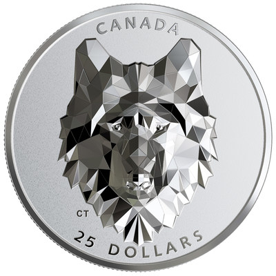 Cabeza de animal poliédrica de alto relieve de Royal Canadian Mint: moneda de plata Lobo (CNW Group/Royal Canadian Mint)