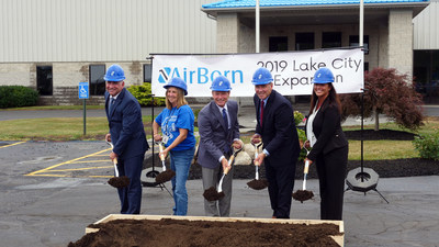 AirBorn broke ground on a project to double the size of their Pennsylvania manufacturing operations.  From L-R: AirBorn's Jon Nelson, Lake City Director of Operations; Lois Peters, longtime Lake City employee; Michael Cole, President & COO; Dennis Davin, PA Secretary of Department of Community & Economic Development and Jennifer Nelson, AirBorn VP of Operations and Supply Chain.