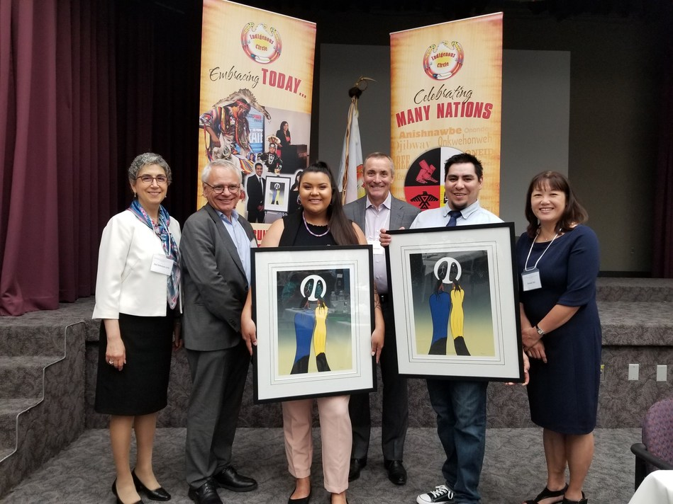 Names in the photo from left to right: Ani Hotoyan-Joly OPG Board, Dominique Miniere OPG, President Nuclear, Taylor Day Akwesasne Mohawk Nation, Ken Hartwick OPG President, Anton Esquega Kiashke Zaaging Anishniaabek (Gull Bay First Nation), Wendy Kei OPG Board Chair (CNW Group/Ontario Power Generation Inc.)