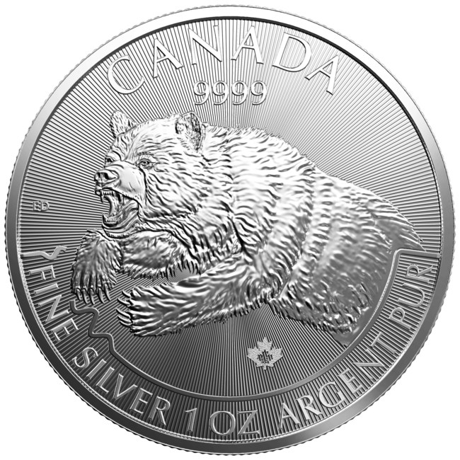 """The 2019 """"Grizzly"""" from the Royal Canadian Mint's Predator silver bullion coin series. (CNW Group/Royal Canadian Mint)"""