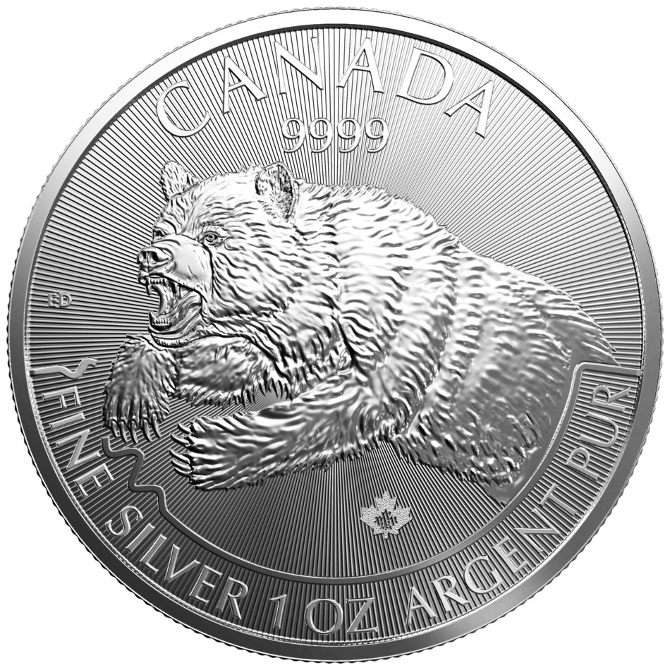 "The 2019 ""Grizzly"" from the Royal Canadian Mint's Predator silver bullion coin series. (CNW Group/Royal Canadian Mint)"