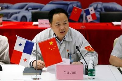 Yu Jun, ejecutivo senior de GAC, da un discurso en la ceremonia de firma de acuerdos (PRNewsfoto/GAC Motor)