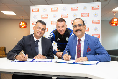 (L-R)Harj Hir Head, of Partnerships at Leicester City along with Club legend Steve Walsh and Sudhesh Giriyan, CEO - Xpress Money at the signing ceremony