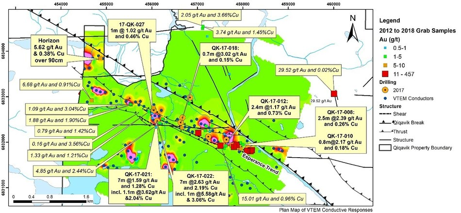 """Figure 3: Plan map of EM """"Lenses"""" at Esperance and Past Drilling(2) (CNW Group/Orford Mining Corporation)"""
