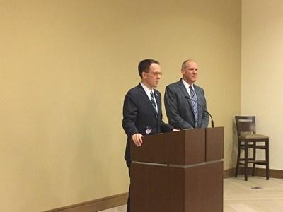 Mayor Bynum addressing the Zarrow Pointe Retirement Community with Zarrow Pointe CEO Jim Jakubovitz