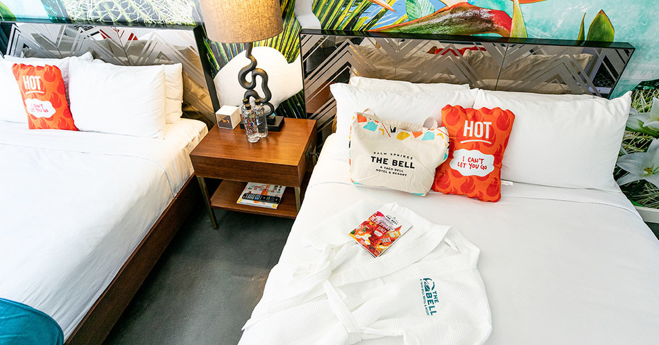 Each fan checking in to The Bell: A Taco Bell Hotel and Resort will be fully immersed in a taco-lovers dream, including their room decor, complete with custom robes, swag bags and more.