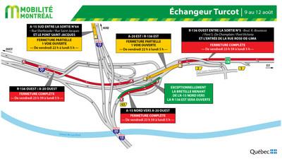 R-136 et échangeur Turcot, fin de semaine du 9 août (Groupe CNW/Ministère des Transports)