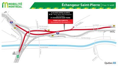 A20 OUEST et échangeur Saint-Pierre, fin de semaine du 9 août (Groupe CNW/Ministère des Transports)