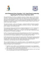 Joint Statement from Canadian / U.S. Coast Guard Leadership regarding the Port Huron Float Down 2019 (CNW Group/Fisheries and Oceans Central & Arctic Region)