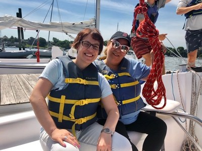 """Injured veterans were empowered to steer the boat, grind the winches, and trim the sails at a Wounded Warrior Project® (WWP) sailing class in Newport.  """"I wanted to be on the ocean without feeling uneasy,"""" said Army veteran Dawn Tomei. """"I do have a slight fear of the water, and having the backing of other veterans gave me the courage to be on the sailboat. I had never been sailing and had no previous knowledge of how to sail."""""""