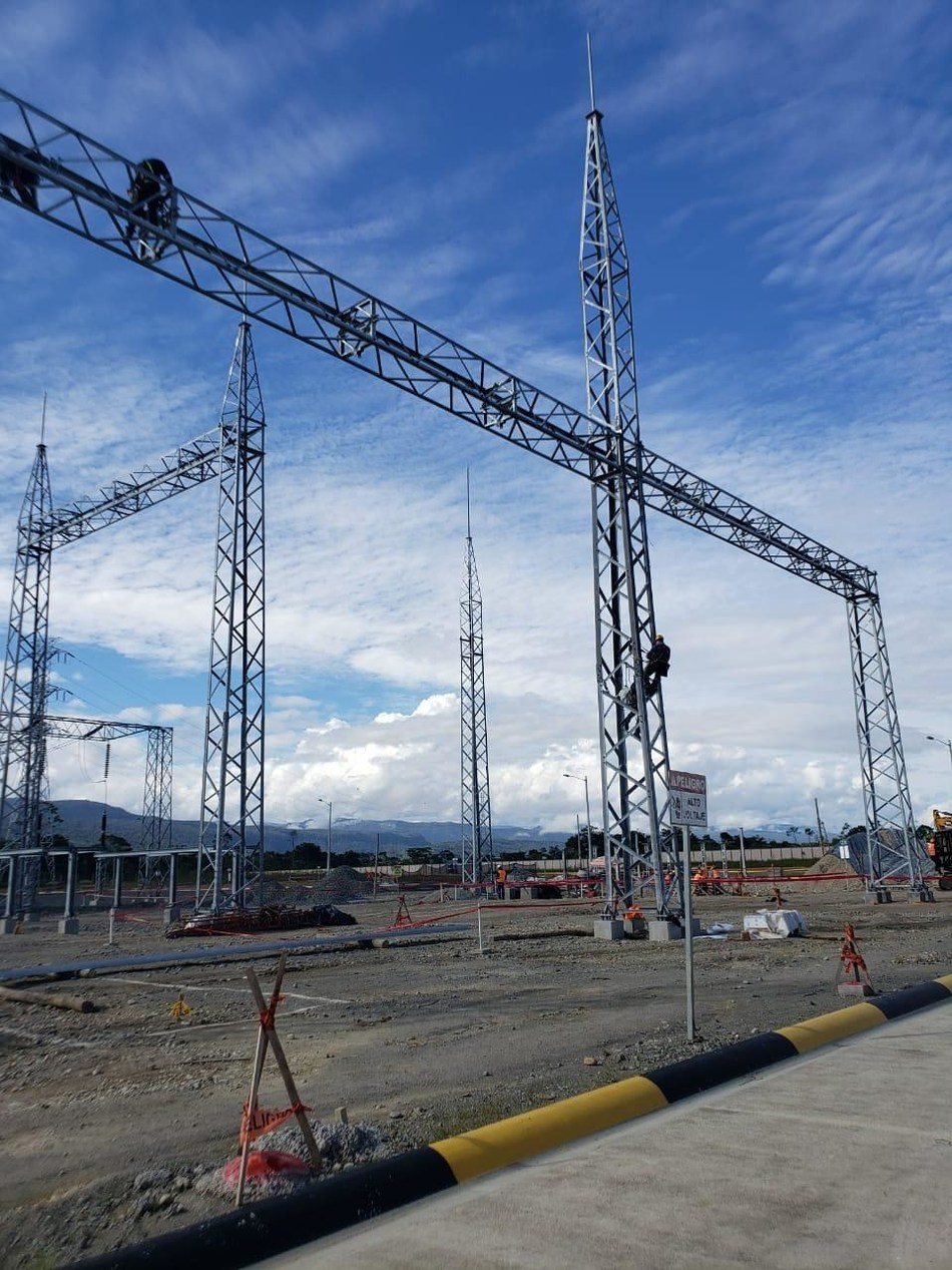 Figure 3. Construction of bay at the Bomboiza substation, where the powerline to site will connect to Ecuador's national power grid (CNW Group/Lundin Gold Inc.)