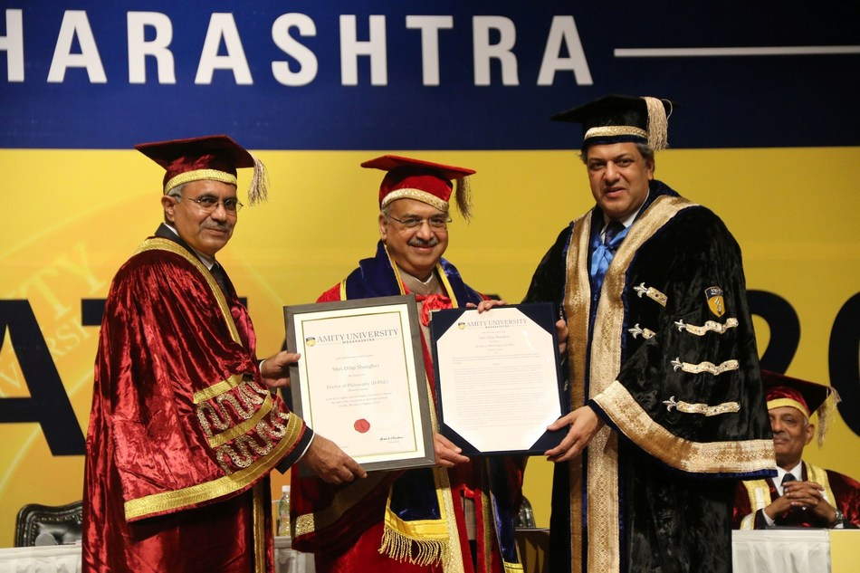 Prof. D.S. Rao Vice Chancellor, Shri Dilip Shanghvi, Chairman Sun Pharmaceuticals and Dr. Aseem Chauhan, President, Amity University
