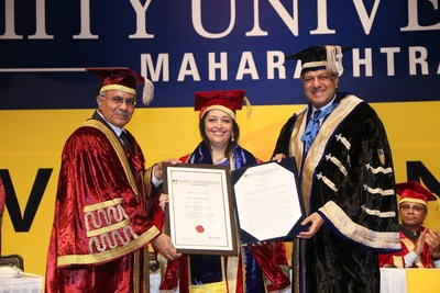 Prof.  D.S. Rao, Vice Chancellor; Ms  Swati Piramal, Indian scientist and Vice Chairperson of Piramal Enterprises Ltd;  and Dr.  Aseem Chauhan, President Amity University.