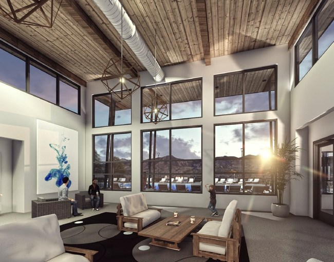 Interior resident clubhouse at FalconView Apartments in Colorado Springs, slated to open October of 2019