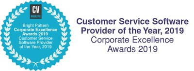 Bright Pattern Awarded Customer Service Software Provider of the Year, 2019 (PRNewsfoto/Bright Pattern)