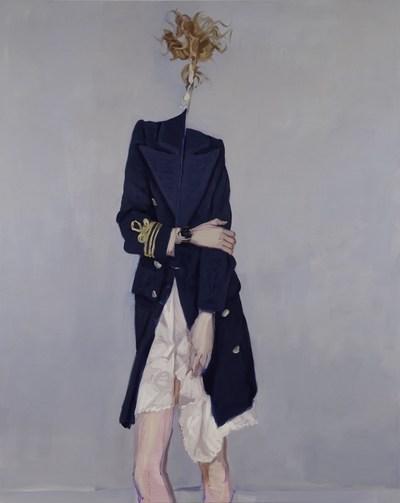 Janet Werner, Folding Woman, 2009, Huile sur toile, 167,5 × 134,5 cm, Collection particulière, Photo : Paul Litherland (Groupe CNW/Musée d'art contemporain de Montréal)