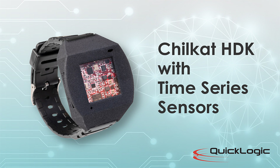 QuickLogic's Chilkat EOS™ S3AI Hardware Development Kit (HDK) enables fast development of AI and Machine Learning (ML) applications at the endpoint. It includes continuous (time-series) sensors such as accelerometer, gyroscope, magnetometer, ambient light, barometer, temperature, and gas as well as a digital microphone (PDM).