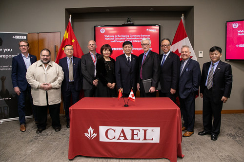 Dr. J.P. Heale, Paragon Board Member; Dr. Bruno Zumbo, Paragon UBC Professor of Psychometrics and Measurement; Consul Jun Guo, Consulate-General of China in Vancouver; Stephen Smith, Senior Vice President at Paragon; Swan Zhou, Chief Business Consultant (China) at Paragon; Jiang Gang, President of NEEA; Dr. Donald Wehrung, President of Paragon; Deputy Consul Kong Weiwei, Consulate-General of China in Vancouver; Dr. Blye Frank, Dean of the UBC Faculty of Education; and Zhang Jin, Director of NEEA (CNW Group/Paragon Testing Enterprises)