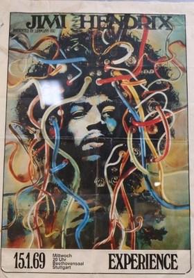 Original Signed Jimi Hendrix Poster from Woodstock 50 Exhibit