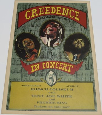 Creedence Clearwater Woodstock Signed Poster from Woodstock 50 Exhibit