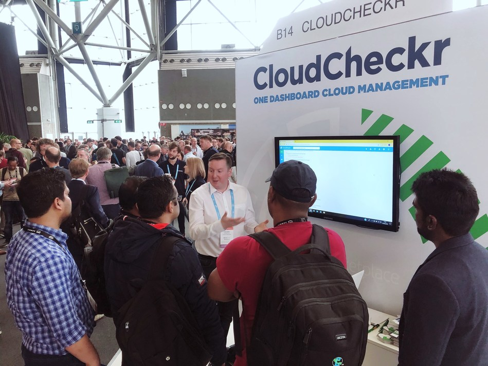 CloudCheckr delivers total visibility, across cloud, making the most complex cloud infrastructures easy to manage and secure—with immediate results. Seen here demonstrating their cloud management platform at a cloud computing event in Amsterdam hosted by Amazon Web Services (AWS).
