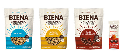 Biena recently unveiled a refreshed visual identity for its category-leading Roasted Chickpea Snacks.