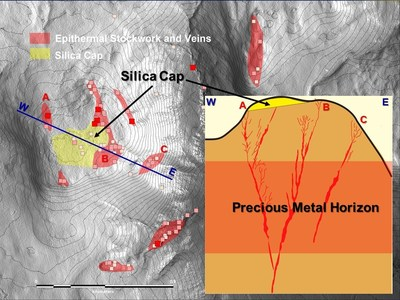 Map of the discovery area of the Highway Zone at Shot Rock showing relative position of the newly identified Silica Cap to zones of quartz veining. Inset: Model cross- section of the discovery area. (CNW Group/Northern Shield Resources Inc.)