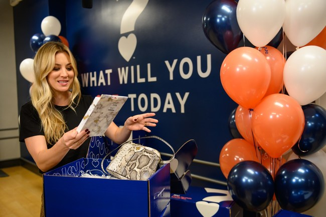 Kaley Cuoco with the first-ever Marshalls Surprise Box, a curated selection of on-trend items across fashion, beauty, home and more.