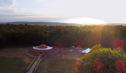 Aerial photograph of the Sri Vidya Shrine in Honesdale, Pennsylvania, during its consecration ceremony