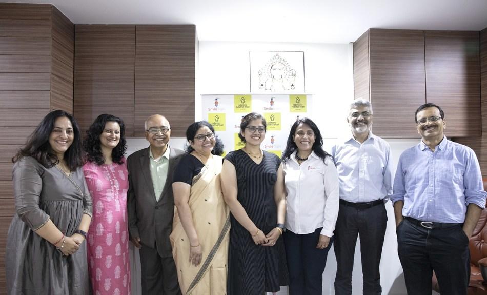 L-R : Leela Imam, Senior Director, Smile Train India; Anjali Katoch, Sr. Director, Communications and Business Development, Smile Train India; K. Dinesh, co-founder Infosys; Asha Dinesh, trustee, Ashraya Hastha Trust; Divya Dinesh, Founder & CEO of Addvantis Enterprises LLP; Mamta Carrol, Vice President & Regional Director, Asia, Smile Train; Rajiv Kochar Chiranthana Trust and Dr Krishnamurthy, Plastic Surgeon & Smile Train partner at BMJH