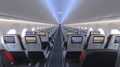 Air Canada's two-class cabin on the A220 will have a total of 137 seats: 12 in a 2x2 configuration in Business Class and 125 in a 3x2 layout for Economy passengers. Every seat on the A220 features a Panasonic eX1 in-flight entertainment system with content available in 15 languages and featuring more than 1,000 hours of high-quality entertainment, including access to Bell Media's premium entertainment service, Crave, and Canadian-based multi-platform audio service, Stingray. (CNW Group/Air Canada)