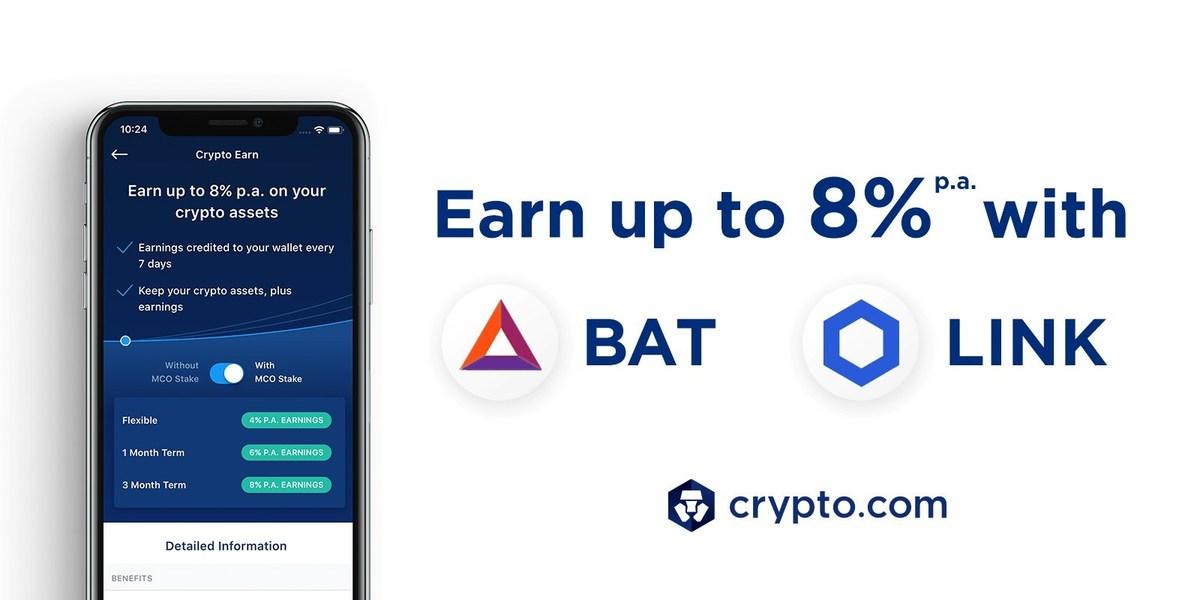 Crypto Earn: Now Earn 8% p a  on BAT & LINK Deposits