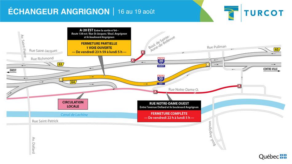 Fermeture – secteur Angrignon (Groupe CNW/Ministère des Transports)