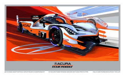 The original artwork by Dave Marek, Acura Executive Creative Director, Honda R&D Americas, Inc., highlights Acura's racing heritage in IMSA. Inspired by this year's Monterey Motorsports Reunion where both the Spice Car and the current ARX-05 will be on track together, the ARX-05 DPi car wears a livery inspired by the Spice Car. The artwork was created using the mixed medium of a 3-D design program, hand drawing and an image manipulation program.