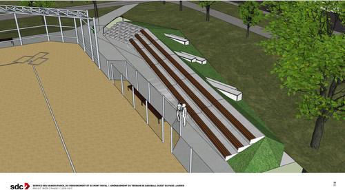 Un aperçu du futur réaménagement du grand terrain de balle au parc Sir-Wilfrid-Laurier (Groupe CNW/Ville de Montréal - Cabinet de la mairesse et du comité exécutif)