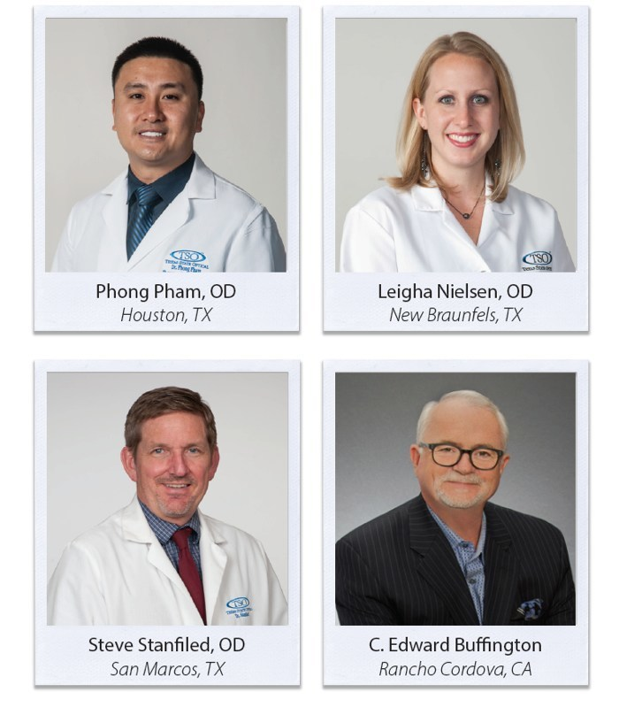 Recently elected Board of Directors for Texas State Optical are Dr. Phong Pham, Dr. Leigha Nielsen, Dr. Stephen Stanfield, and Mr. C. Edward Buffington.