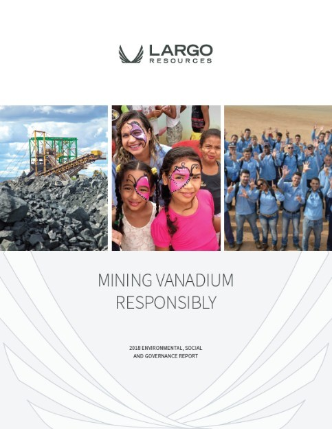 Largo Resources' 2018 Inaugural Environmental, Social and Governance Report (CNW Group/Largo Resources Ltd.)