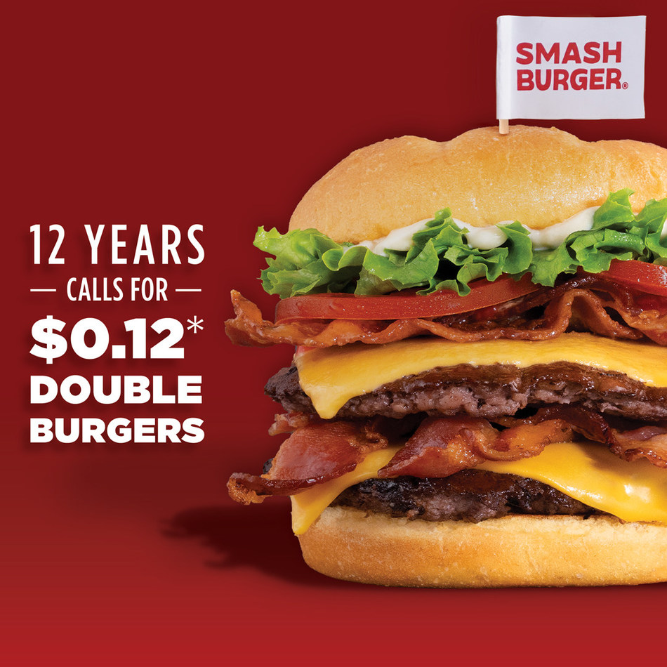 Smashburger invites burger lovers across America to take part in their upcoming birthday bash. On Friday, August 16, 2019, Smashburger will mark its 12th year in business by offering the signature double Smashburger for just $.12. Purchase one double Smashburger at the regular price and buy a second for 12 cents.