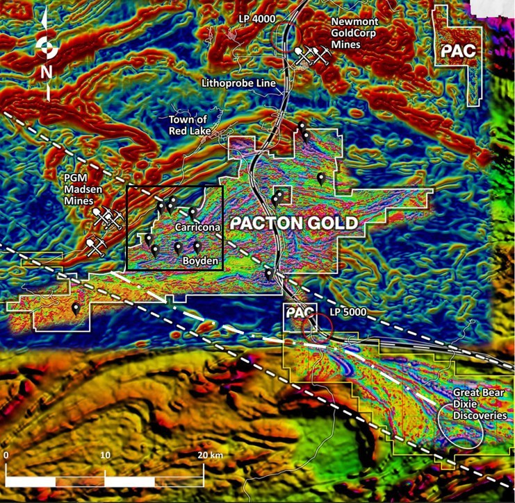 Figure 1. Pacton Red Lake claims superimposed on derivative, regional magnetic maps; and high-resolution heli-mag first derivative data. Lithoprobe transect WS-2b (white & black line) is shown with two reference waypoints. Selected mines and selected gold occurrences (black teardrops) are indicated. The Carricona and Boyden areas indicate Pacton's current field activities. At lower right, the location of Great Bear Resources' recent discoveries are indicated, overlain on a magnetic derivative map published by Great Bear. A significant, 50 km multi-fault structural corridor is delineated  by two white dashed lines. Riedel shear swarms, within and near the structural corridor, in the Carricona and Boyden areas (black rectangle), are clearly expressed by the magnetic fabric. (CNW Group/Pacton Gold Inc.)
