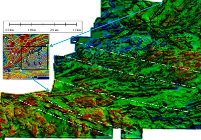 Figure 2. Magnetic details of Carricona-Boyden area showing detailed structure generated by the combination of magnetic data (first vertical derivative of total magnetic intensity) and Lidar terrain model. This figure clearly shows detailed magnetic features which are also illustrated in Figure 3. (CNW Group/Pacton Gold Inc.)