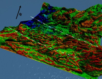Figure 3. 3d view of Figure 2, looking across the regional structural fabric. The map is generated by combining a 3m resample of 1m Lidar elevation map with a first vertical derivative map of the total magnetic intensity (i.e. showing area of rapid magnetic change). In the resulting map, the red areas are more magnetically chaotic and correlate highly with higher terrain elevations. (CNW Group/Pacton Gold Inc.)