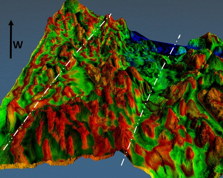 Figure 4. 3d view of Figure 2, looking west, along the regional structural fabric. As in Figure 3, the map is generated by combining a 3m resample of 1m Lidar elevation map with a first vertical derivative map of the total magnetic intensity (i.e. showing area of rapid magnetic change). In the resulting map, the red areas are more magnetically chaotic and correlate highly with higher terrain elevations. (CNW Group/Pacton Gold Inc.)