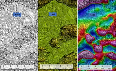 Figure 5. Outcrop finder map, showing probable locations of outcrops (darker spots on map at left). Center: outcrop finder map with Lidar elevation. Right: outcrop finder map with first vertical derivative of total magnetic intensity. (CNW Group/Pacton Gold Inc.)