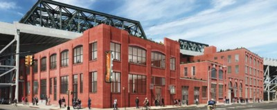 Architect's rendering of the Sixpoint Brewery, from the corner of 9th Street & 2nd Avenue.