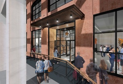 Architect's rendering of the Sixpoint Brewery, from the entrance at 124 9th Street in Brooklyn.