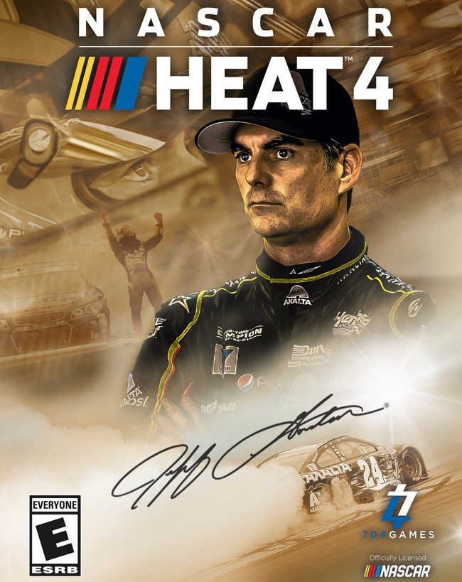 Jeff Gordon graces the cover of NASCAR Heat 4 Gold Edition.