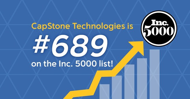 CapStone Technologies is honored to be number 689 on the @incmagazine 5000 list. Significant rise from #3598 last year - and we're the third-highest-ranked Nebraska company on the list