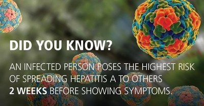 A person infected with hepatitis A is contagious two weeks before showing symptoms.