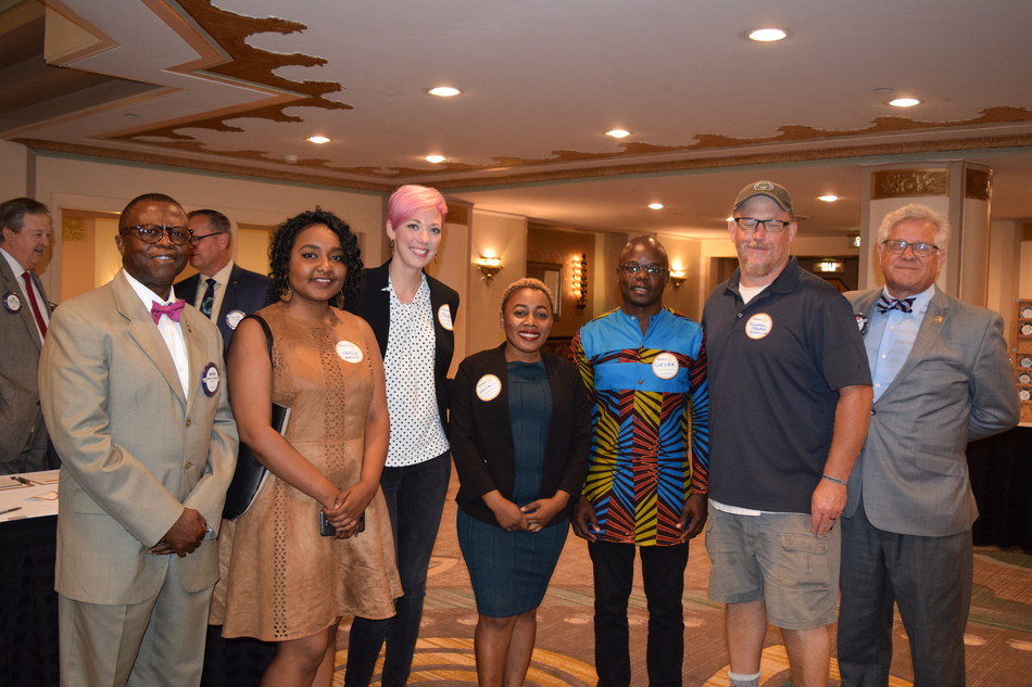 Union Institute & University and the Rotary Club of Cincinnati will host the Mandela Washington Fellows on Wednesday, August 21 from 5:30 p.m. to 7 p.m. at Union located at 440 East McMillan Street, Cincinnati. Pictured left to right: Rotary World Affairs Committee member Baffour Otchere, Fellow Nahla Maalla, Fellow sponsor Megan Fischer of Sweet Cheeks Diaper Bank, Fellow Leticia Asangono, Fellow Otil Amoroso Lufuma, Fellow sponsor Richard Stewart of Carriage House Farm, and Rotary World Affair